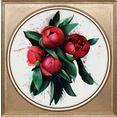 queence artprint op acrylglas rode bloem multicolor