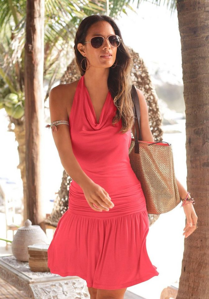 Lascana jurk in haltermodel met lage ruglijn rood