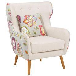 home affaire oorfauteuil »missouri«, 2-kleurig met bloemmotief, beklede zitting, zithoogte 47 cm beige
