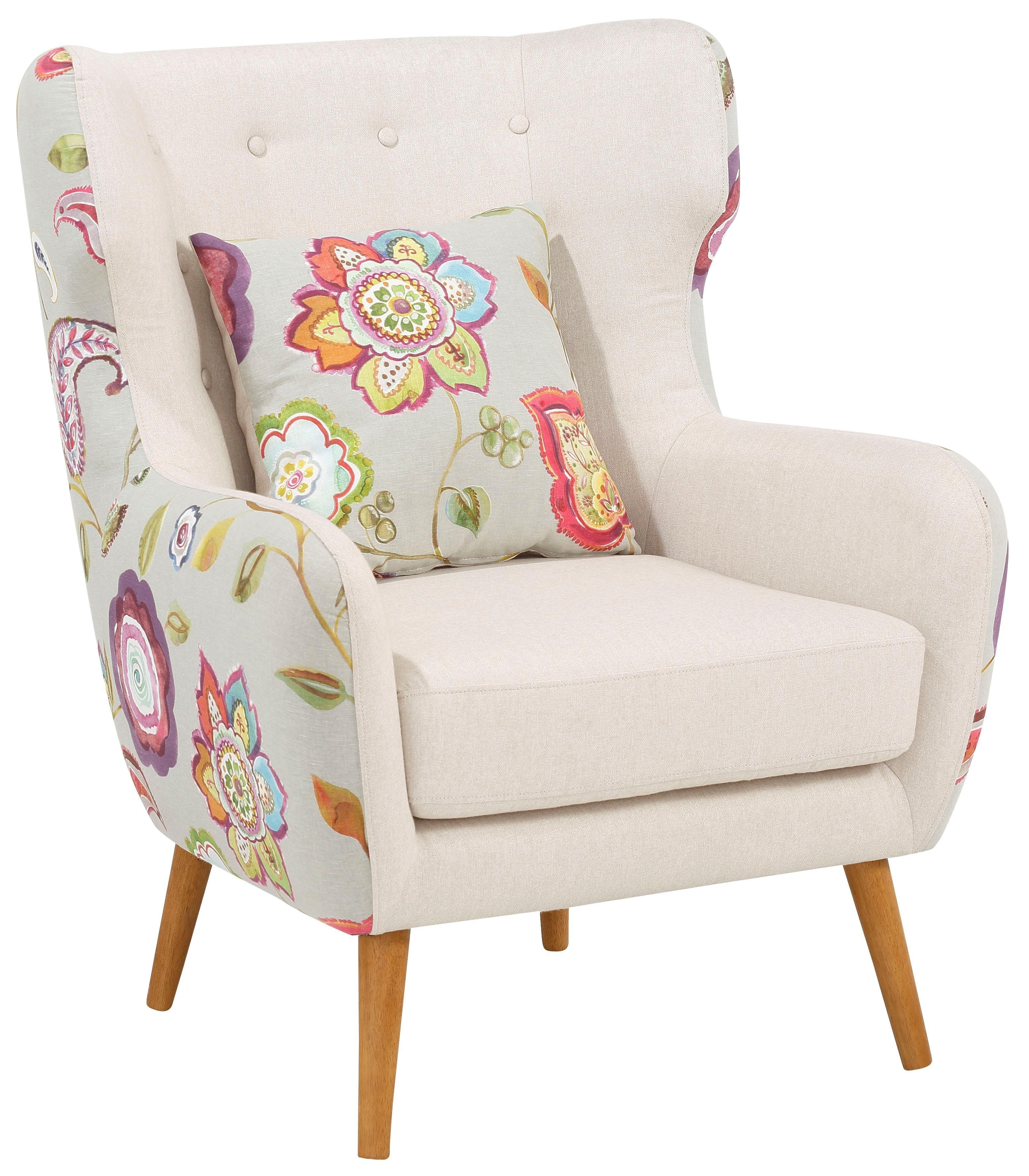 Home Affaire oorfauteuil »Missouri«, 2-kleurig met bloemmotief, beklede zitting, zithoogte 47 cm bestellen: 30 dagen bedenktijd