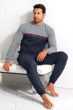 le jogger pyjama lang met contrastpaspel grijs