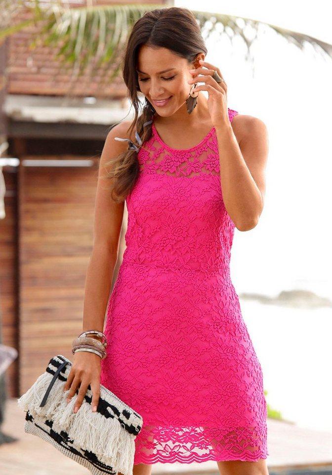 Lascana kanten jurk roze