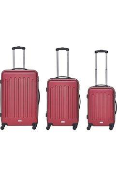 packenger trolleyset 'travelstar', 4 wieltjes, (3-delig) rood
