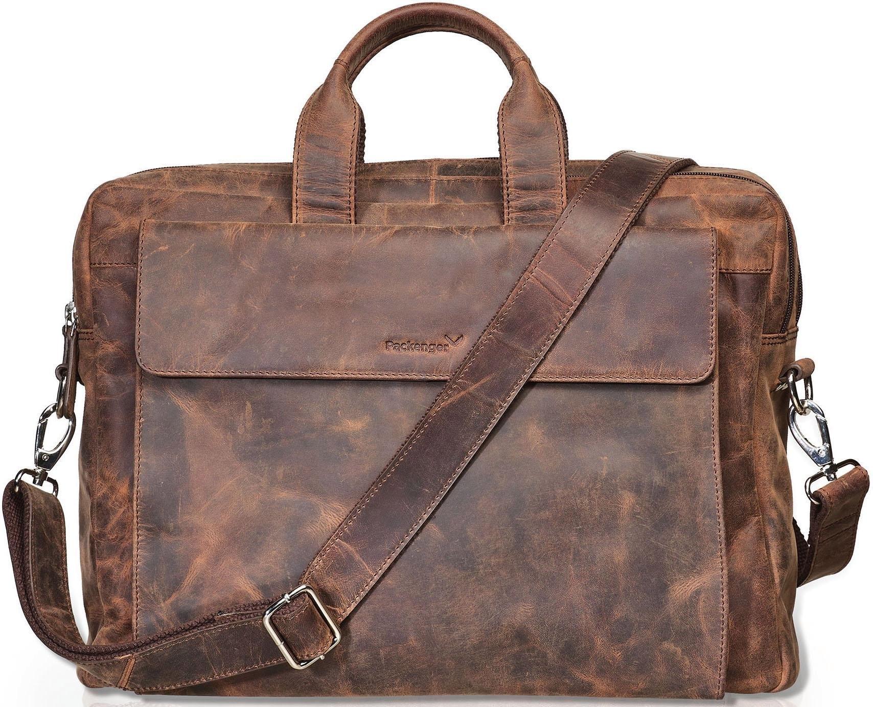 Packenger schoudertas met laptopvak voor laptop van 15 inch, »Odin, vintage braun« voordelig en veilig online kopen