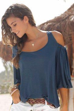 lascana shirt met strikdetail aan de mouwen blauw