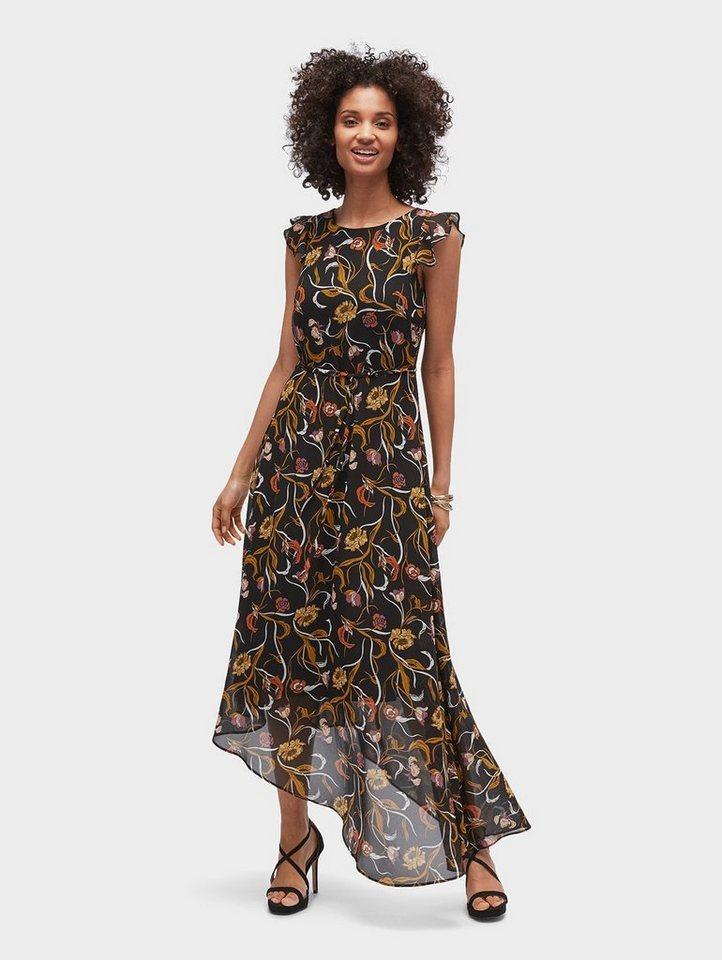 Tom Tailor maxi-jurk Asymmetrisches chiffon-Kleid mit floralem Muster zwart