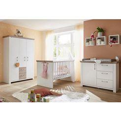 complete babykamerset stralsund bed + commode + 3-deurs kast (set, 3 stuks) wit