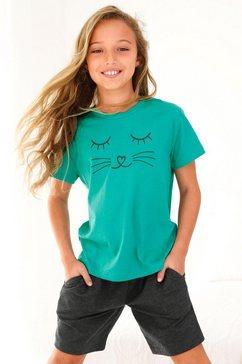 arizona shortama met cat-print voor meisje blauw