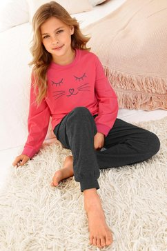 arizona lange meisjespyjama met kattenprint rood
