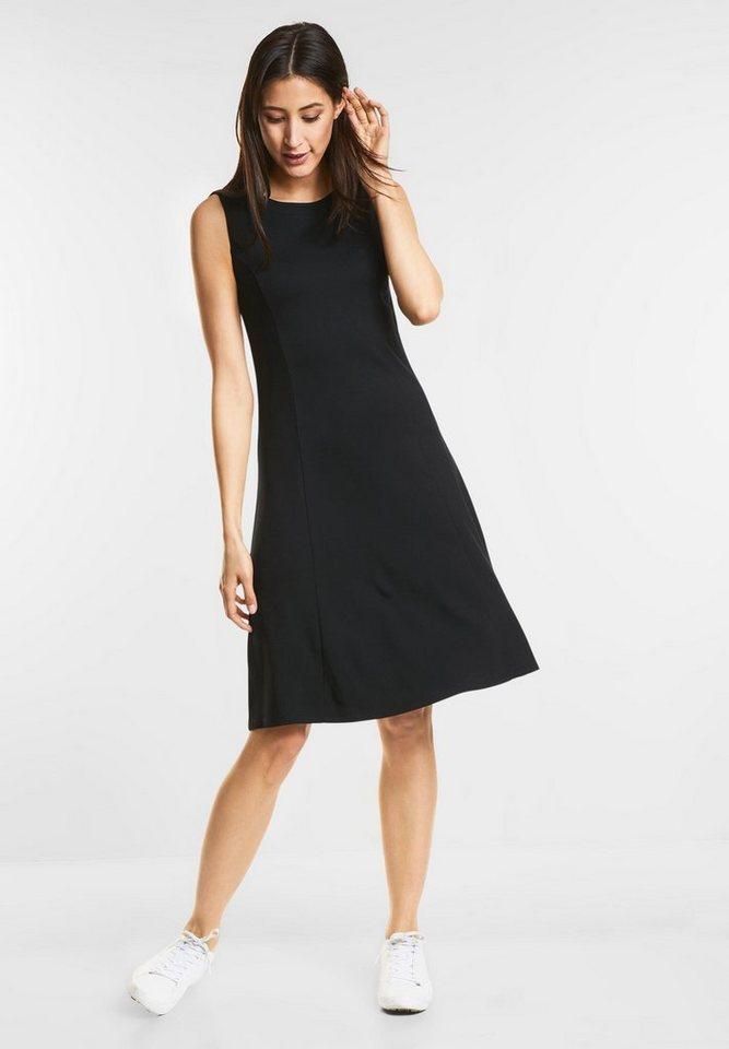 Street One Getailleerde jersey jurk zwart