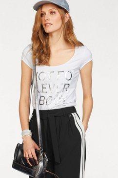 bruno banani t-shirt met zilverprint wit