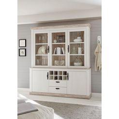 home affaire buffetkast »florenz« in romantische landhuis-look, hoogte 205 cm wit