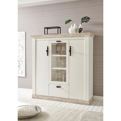 home affaire highboard »florenz« in romantische landhuis-look, breedte 140 cm wit
