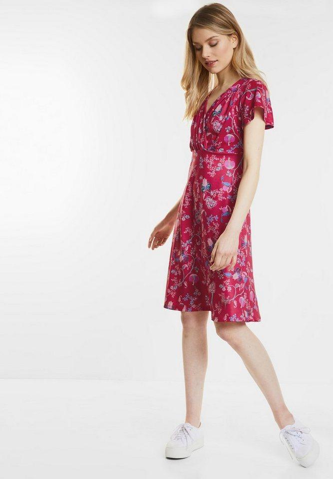 Street One Gebloemde jurk van jersey roze