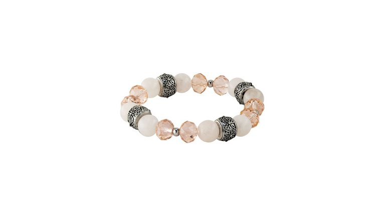 J.Jayz armband Fijn lichtpink, stijlvol, glanzend met glassteentjes en rozenkwartskralen