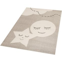vloerkleed voor kinderkamer »star and moon«, zala living, rechthoekig, 18 mm hoog, machinaal geweven beige