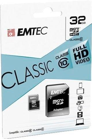 Emtec microSDHC 32GB Class 10 Classic met SD-adapter nu online bestellen