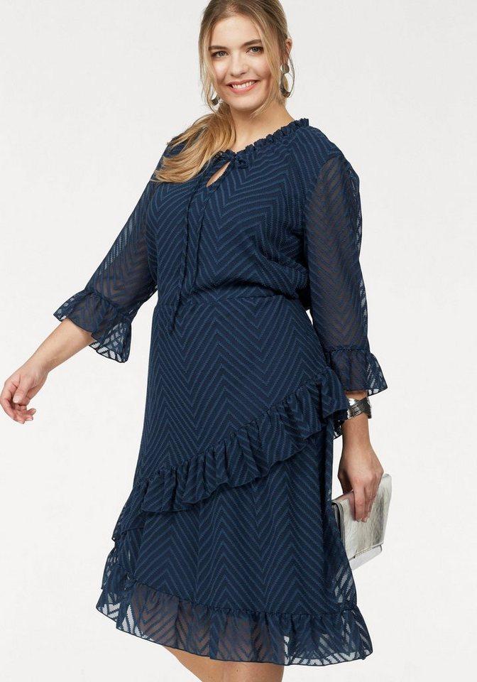 Junarose jurk met volants blauw