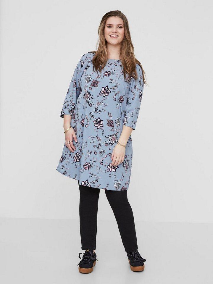 Junarose 3/4-mouw bloemen jurk blauw