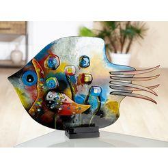 gilde glas art decoratief figuur sculptuur vis fresh flowers decoratief object, dierfiguur, hoogte 39,5 cm, van gekleurd glas, met de hand vervaardigd  met de hand beschilderd, woonkamer (1 stuk) multicolor