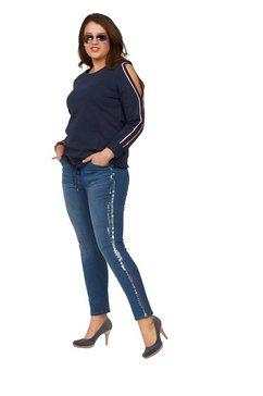 arizona sweatshirt met cold shoulder en rijgkoord met cold shoulders blauw