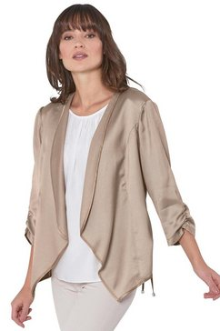 creation l premium blouseblazer in zomers lichte, chic glanzende kwaliteit beige