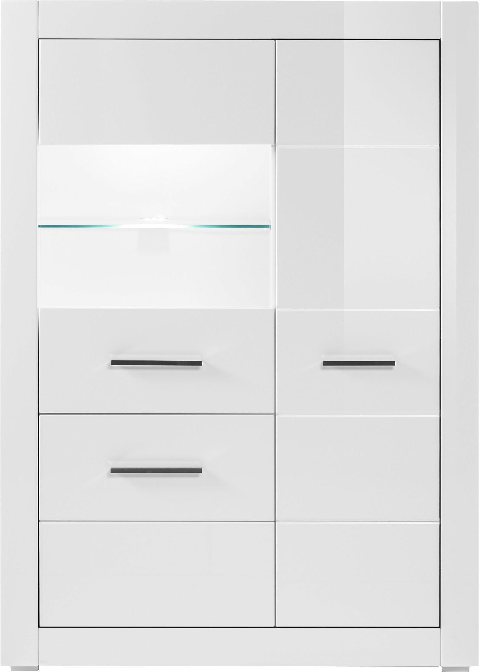 Vitrinekast »BIANCO«, hoogte 142 cm nu online kopen bij OTTO