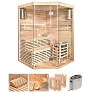 home deluxe set: sauna 150x150x200 cm, 50 mm, 6 kw beige