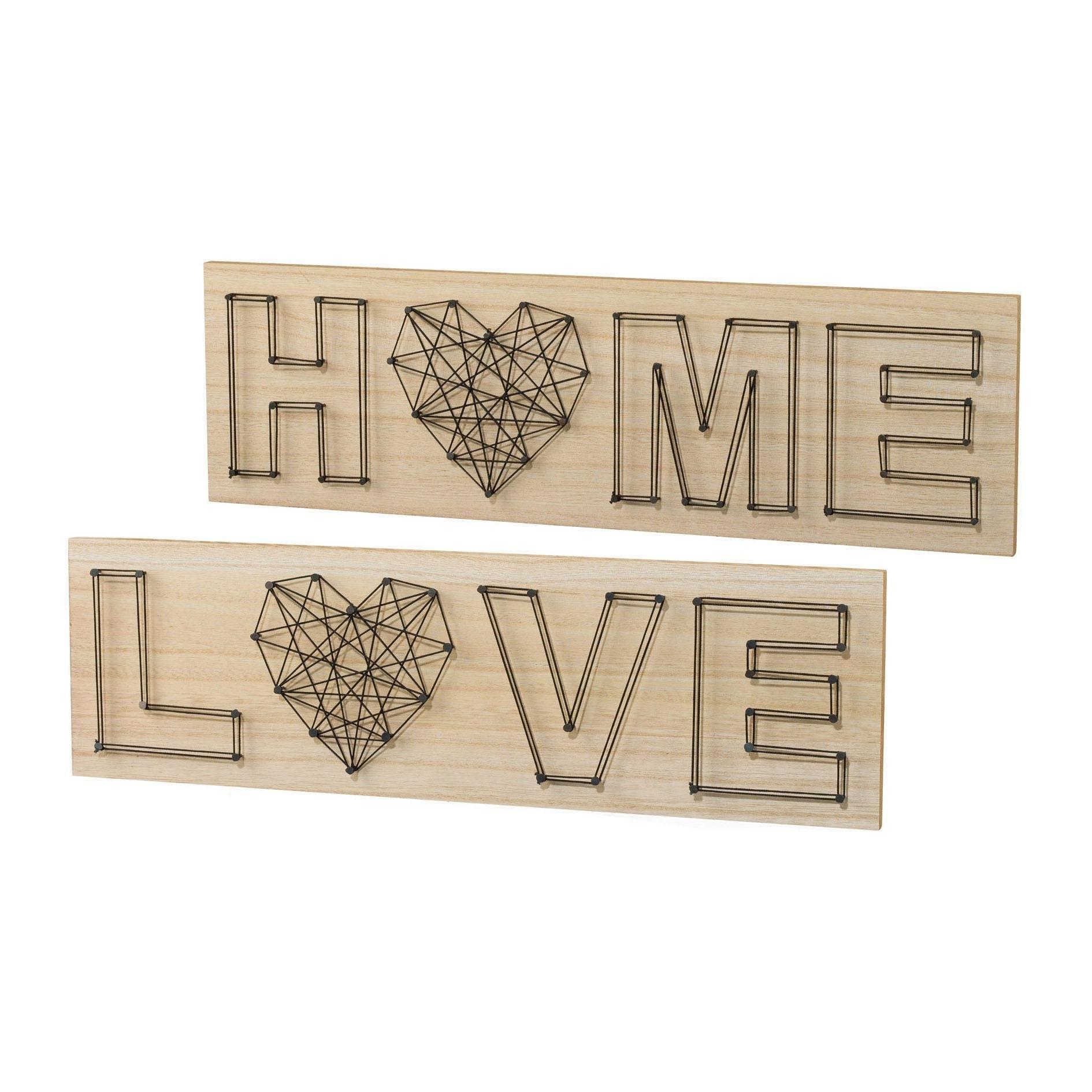 Creativ home artprint op hout Wanddecoratie, van hout, met een opschrift (set, 2 stuks) bestellen: 30 dagen bedenktijd
