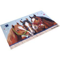 vloerkleed voor de kinderkamer, »pf-512«, pferdefreunde, rechthoekig, hoogte 6 mm, geprint bruin