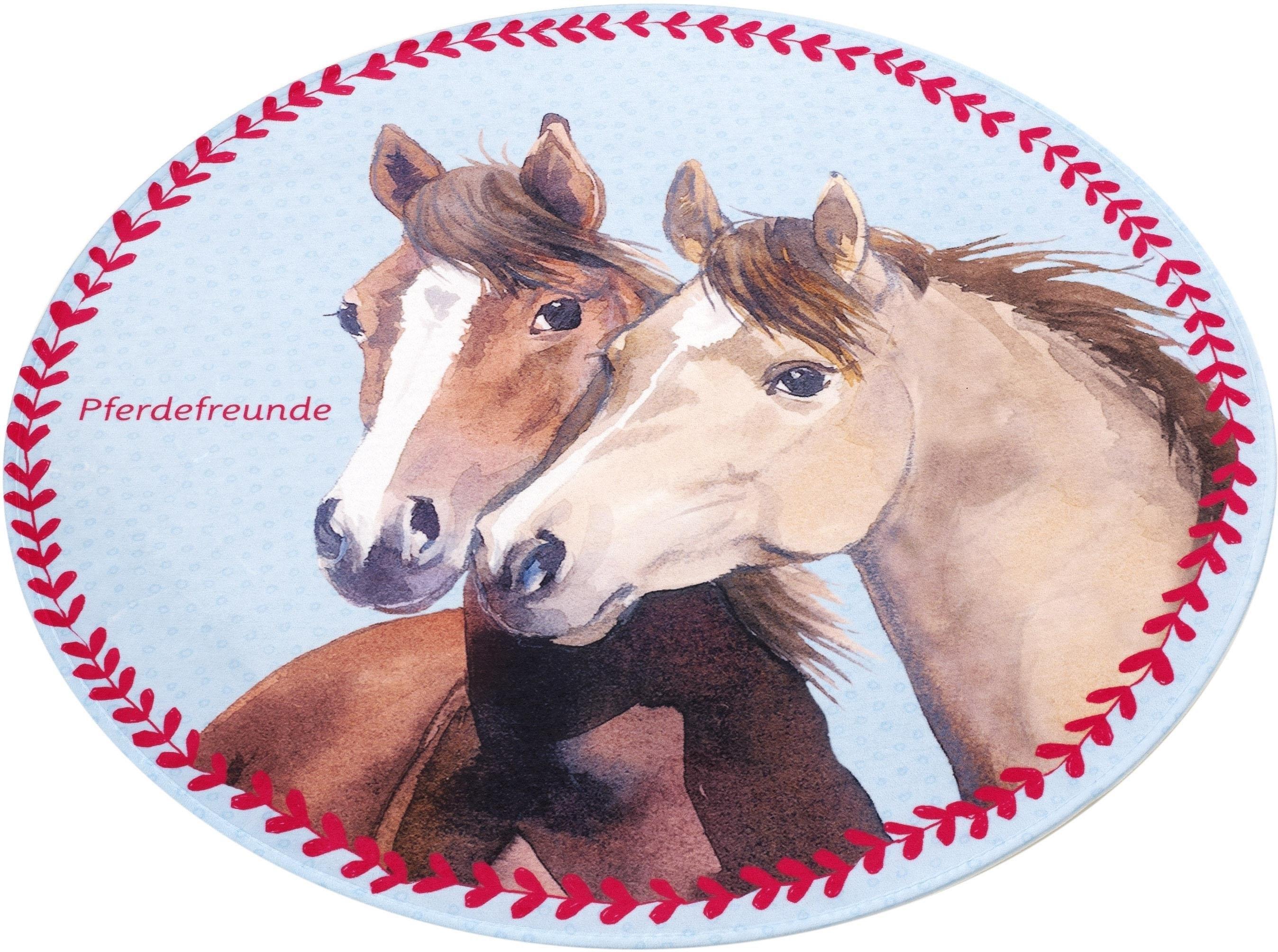 Pferdefreunde Vloerkleed voor de kinderkamer, »PF-513«, rond, hoogte 6 mm, geprint nu online bestellen