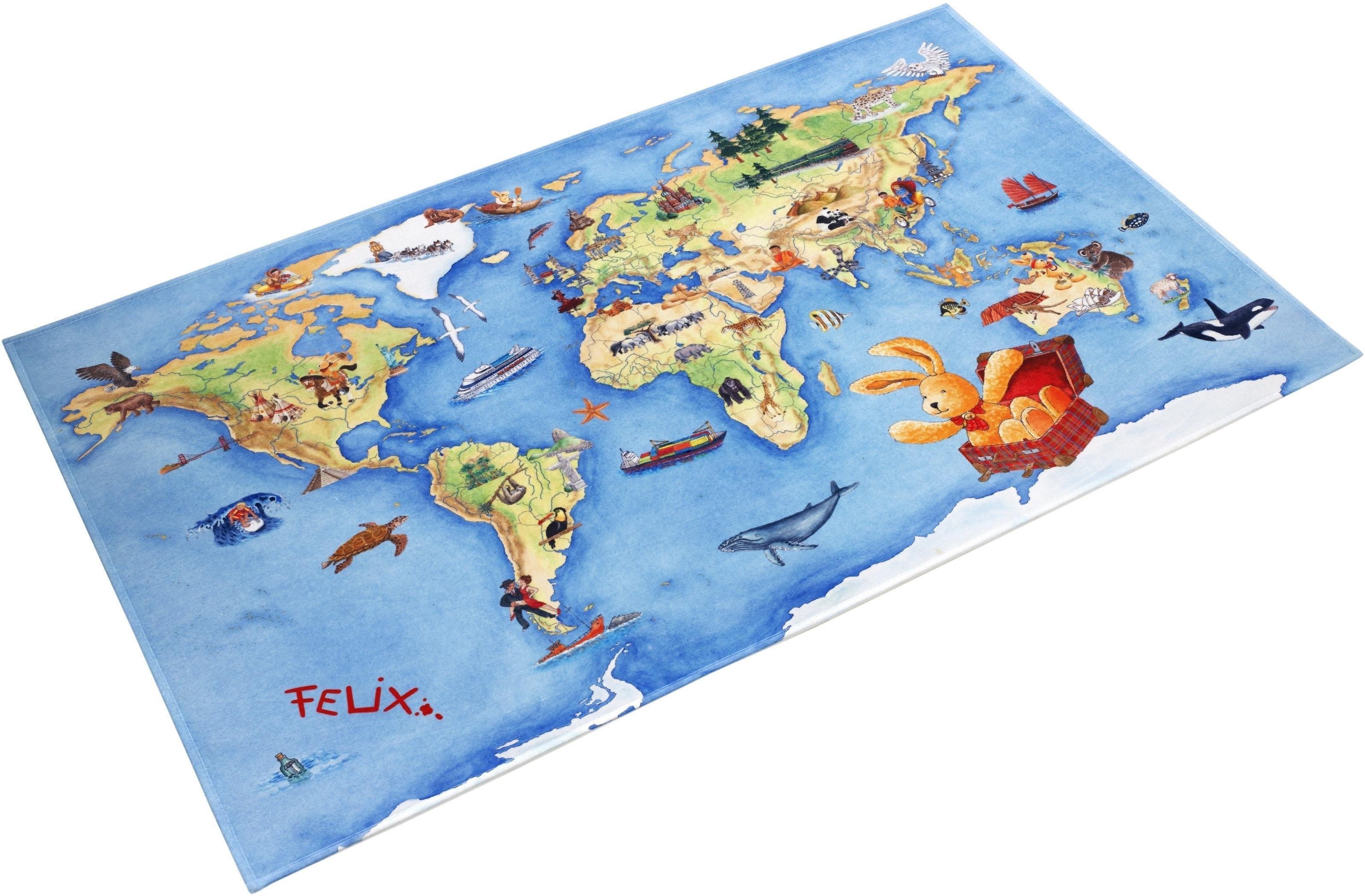 Felix der Hase Vloerkleed voor de kinderkamer, »FE-410«, rechthoekig, hoogte 6 mm, geprint voordelig en veilig online kopen