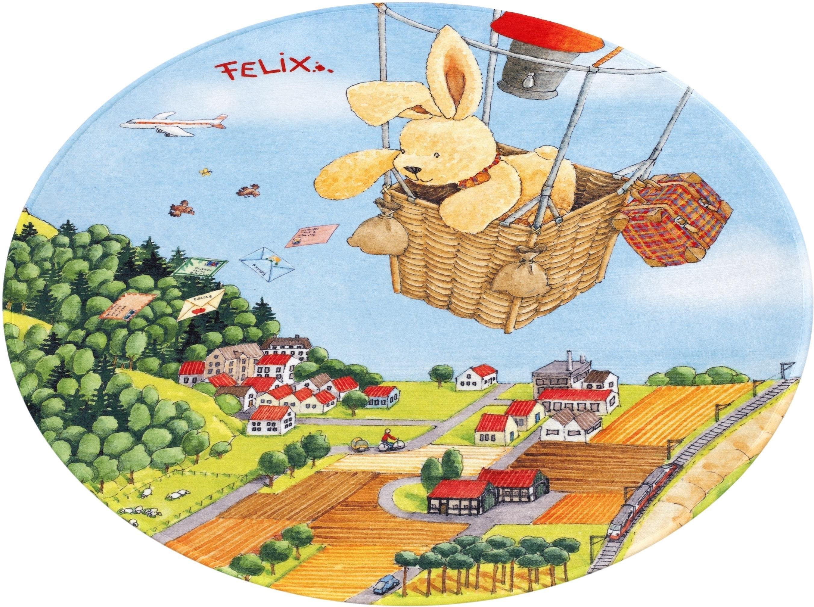 Felix der Hase Vloerkleed voor de kinderkamer, »FE-415«, rond, hoogte 6 mm, geprint voordelig en veilig online kopen
