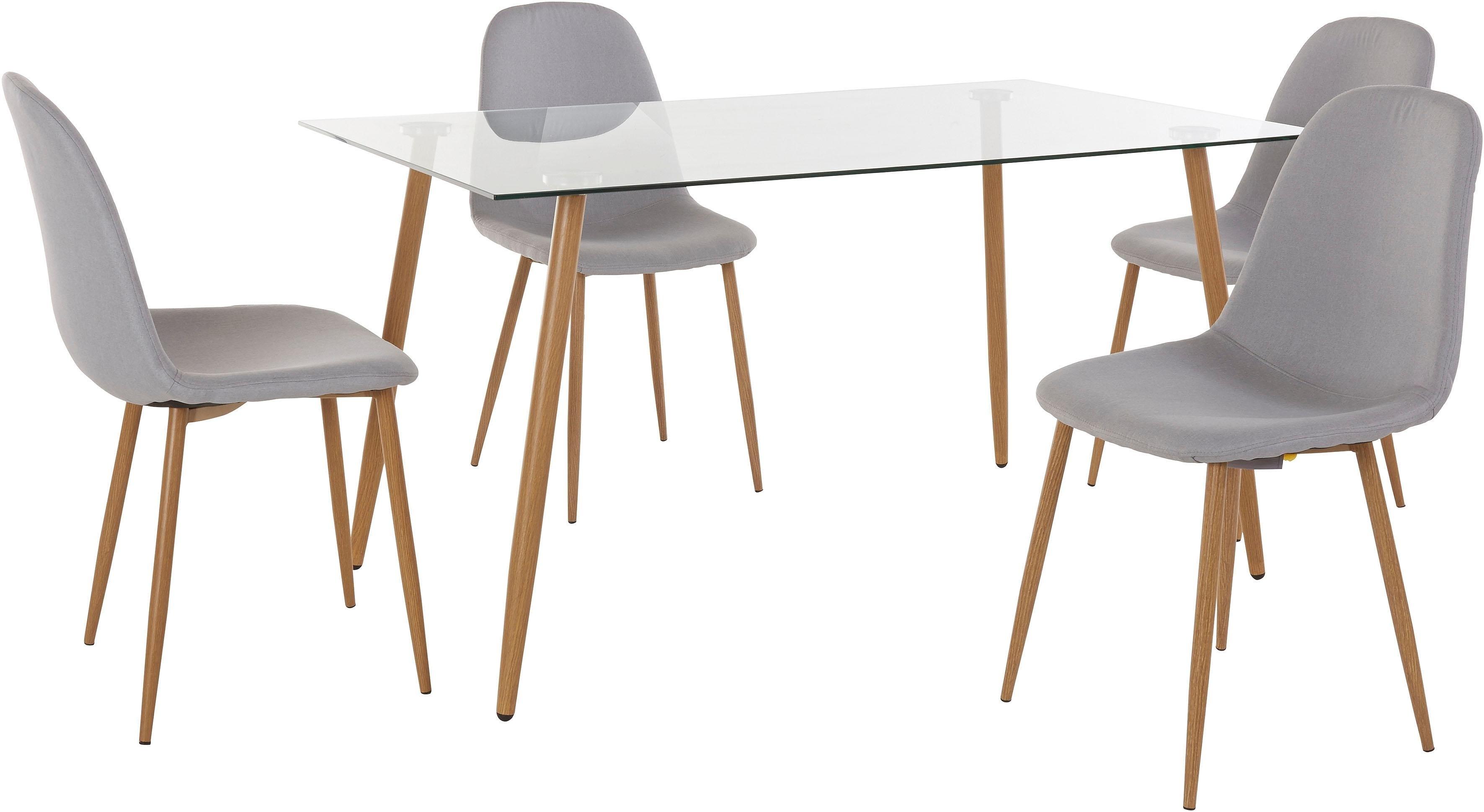 Eethoek hoekige glazen tafel met 4 stoelen weefstof snel online