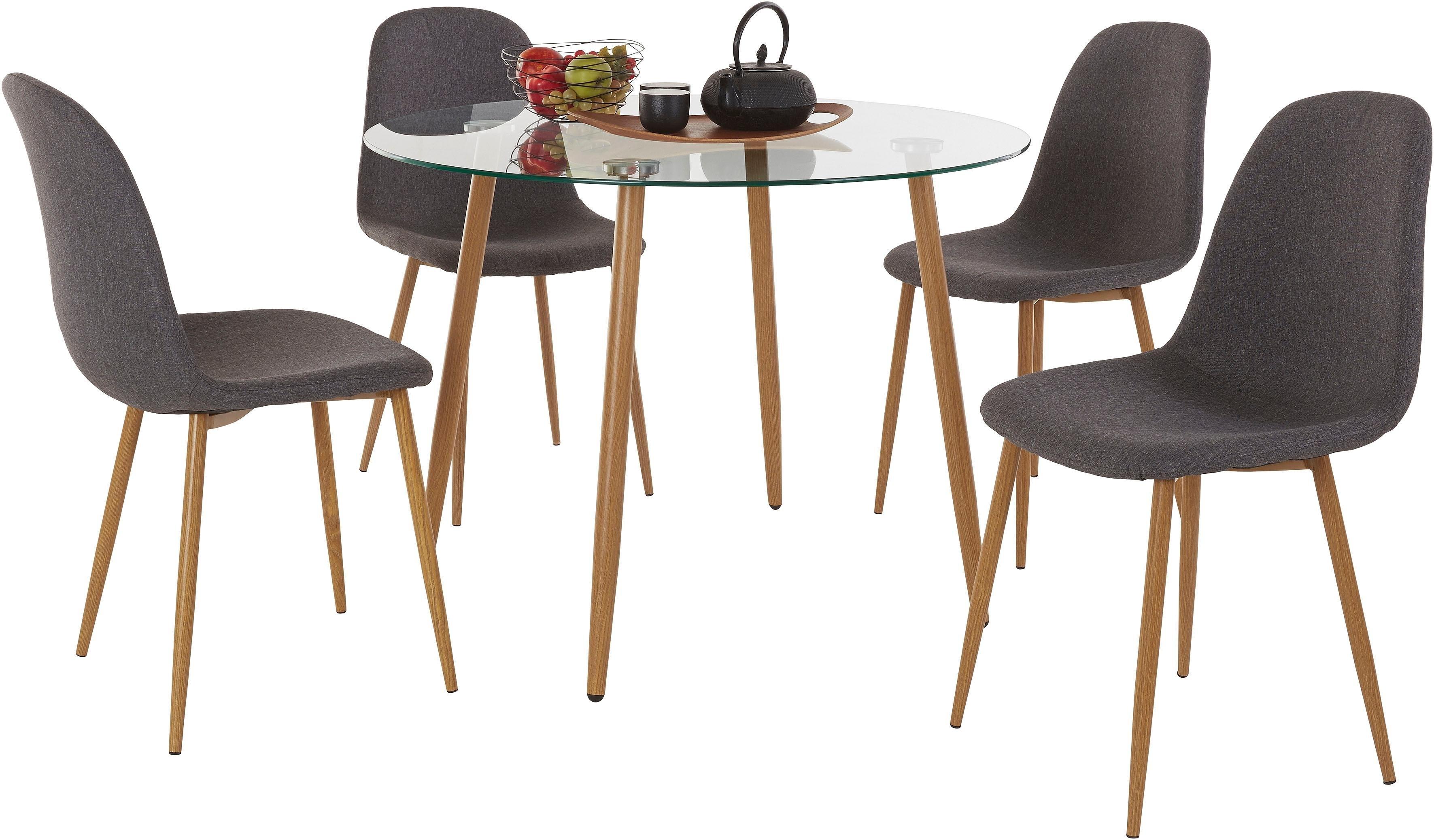 Verwonderlijk Eethoek, ronde glazen tafel met 4 stoelen (weefstof) in de online HT-93