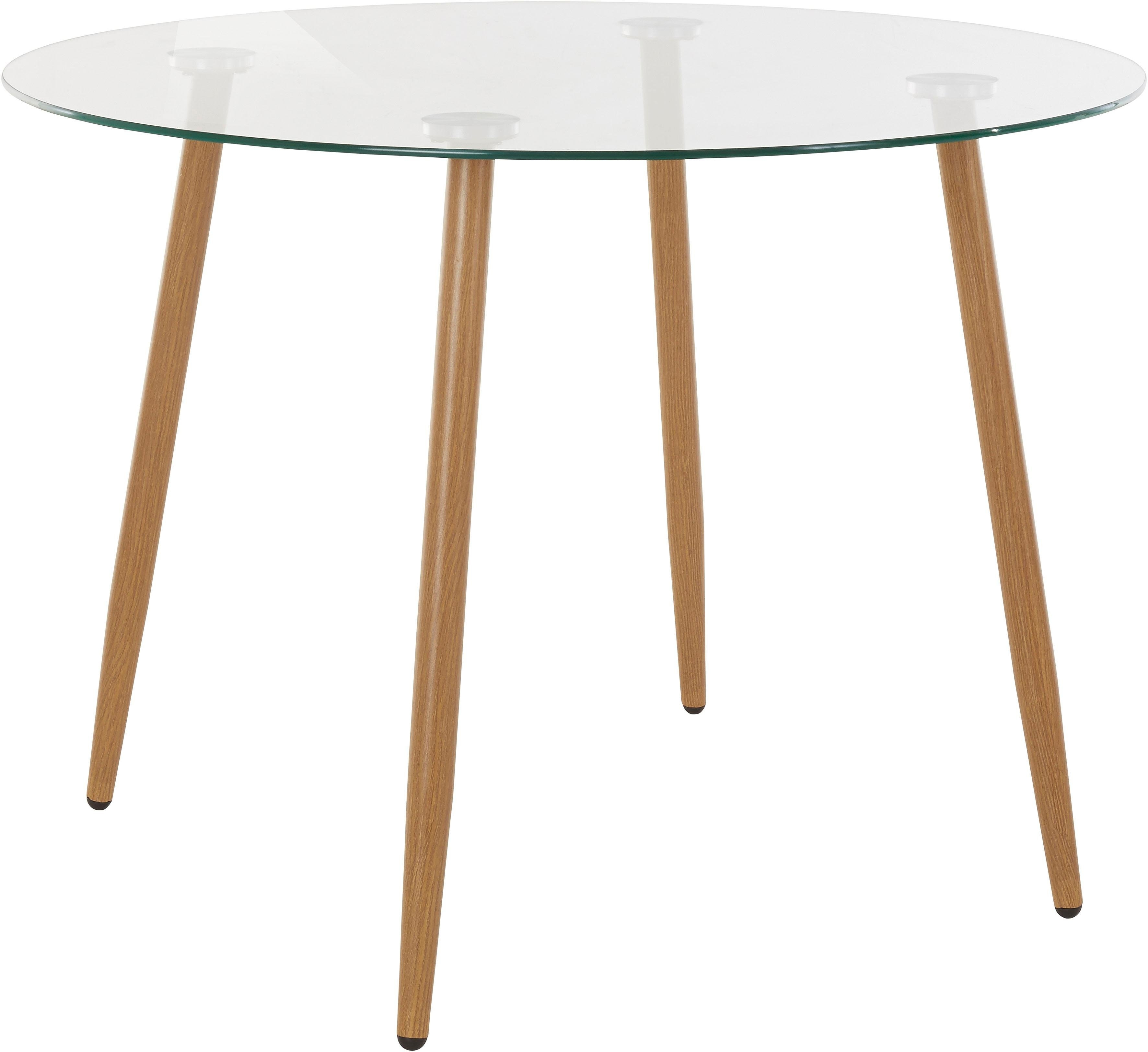 Onwijs Eethoek, ronde glazen tafel met 4 stoelen (weefstof) in de online TZ-66