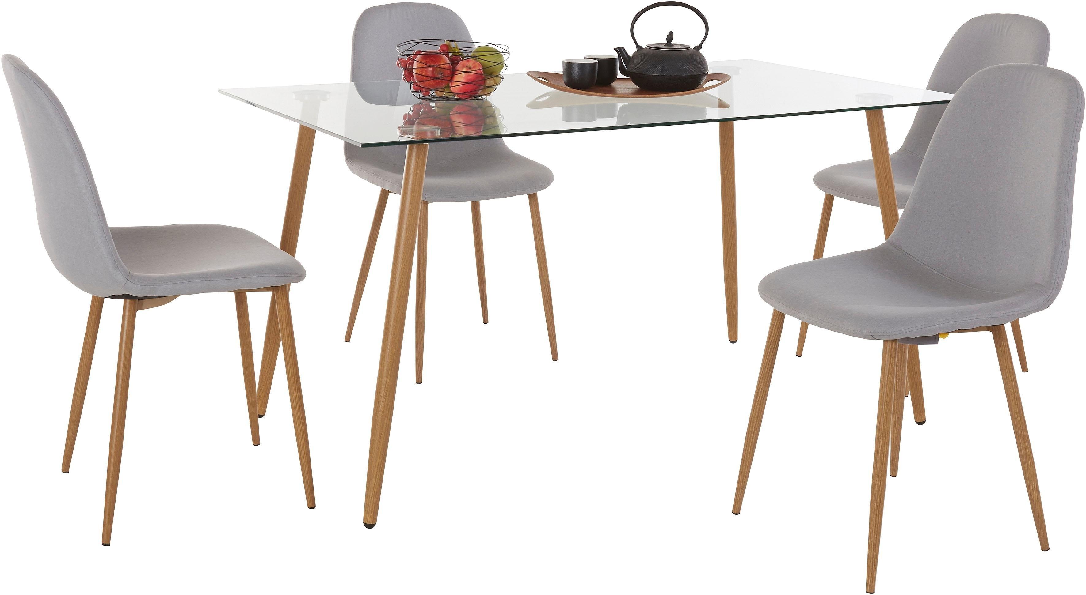 Spiksplinternieuw Eethoek, hoekige glazen tafel met 4 stoelen (weefstof) snel online BU-28