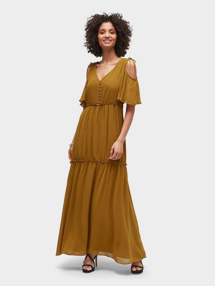 Tom Tailor maxi-jurk Naomi Campbell: ruchejurk met cut-outs geel