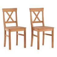 premium collection by home affaire stoel »lukas« in set van 2, van massief eikenhout of beukenhout beige