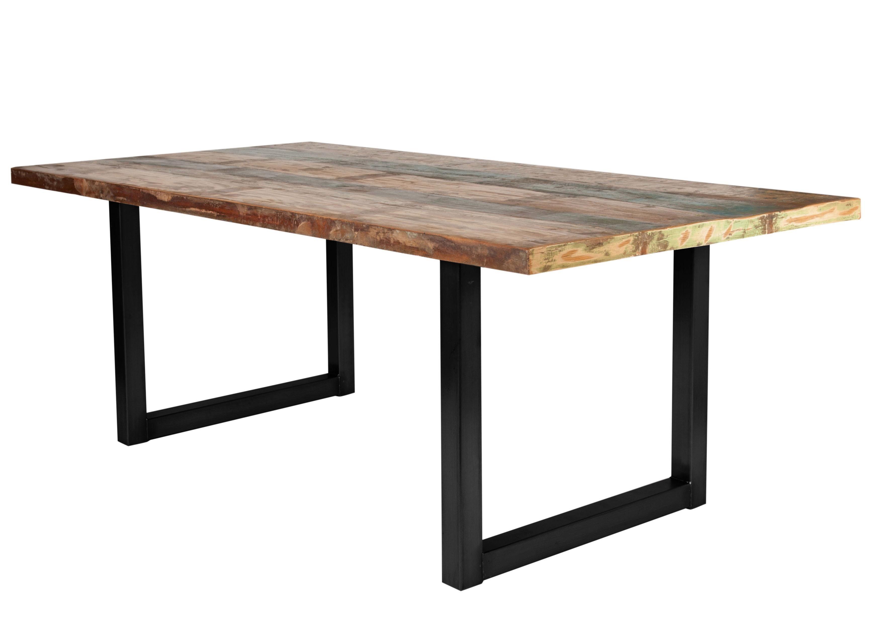 Sit eettafel tops« van gerecycled gebruikt hout en metaal in de