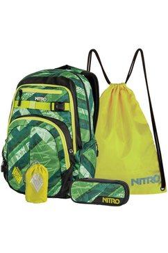 nitro schoolset met laptopvak voor laptop van 17 inch, 4-delig, »chase wicked green« groen