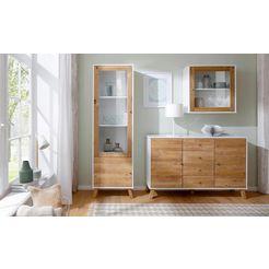home affaire hangvitrine »rondo«, met een glasdeur en een plank, van massief hout, breedte 65 cm wit