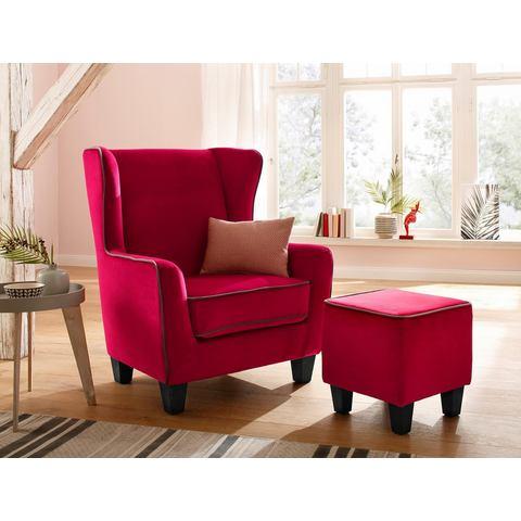 Home affaire fauteuil Ginger met hocker als set, opstaande naad, binnenvering