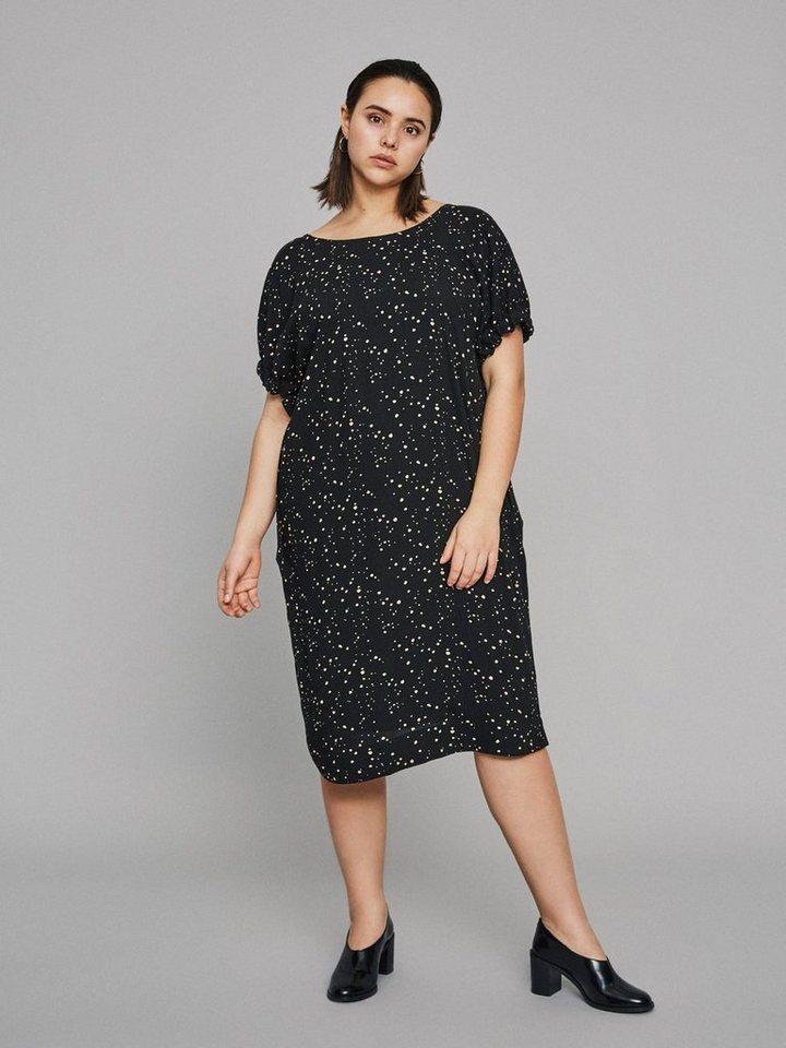 Junarose Gestippelde jurk zwart