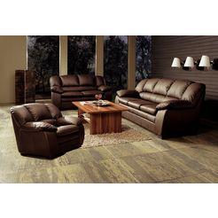 cotta zithoek set: fauteuil, 2-zitsbank, 2,5-zitsbank (set, 3-delig) bruin