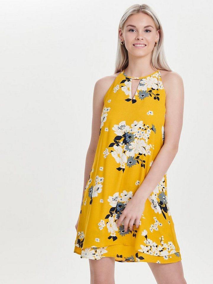 ONLY Bedrukte Mouwloze jurk geel
