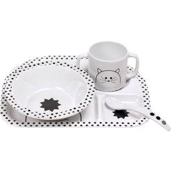 laessig kinderservies, 4-delig, »dish set, little chums cat« wit
