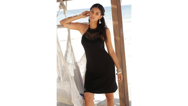 LASCANA jurk in haltermodel met kanten inzet