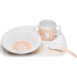 laessig kinderservies set, 4-delig, »dish set, little spookies peach« wit