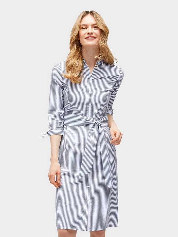 Tom Tailor jerseyjurk Gestreiftes Blusen-Kleid mit Gürtel blauw